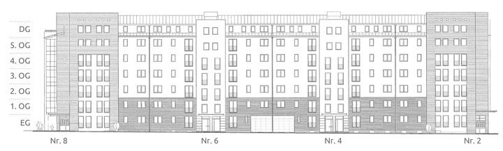 Illustration Gebäudeansicht Walter-Friedländer-Straße